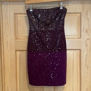 Strapless Sequined Purple Cocktail Dress